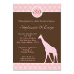 12x18 rosa Polka-Punkt-Giraffen-Baby-Duschen-Einla Individuelle Einladung