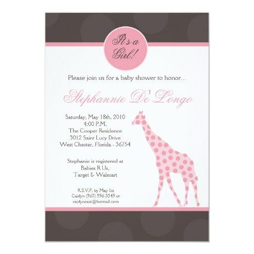 12x18 rosa Polka-Punkt-Giraffen-Baby-Duschen-Einla Einladungskarte