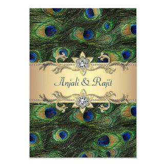 12x18 Smaragdgrün-elegante Pfau-Hochzeit 12,7 X 17,8 Cm Einladungskarte