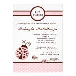 12x18 ZWILLINGE Baby-Duschen-Einladung rosa