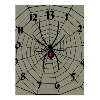 13 dreizehn Stunden-Spinnen-Uhr Postkarte