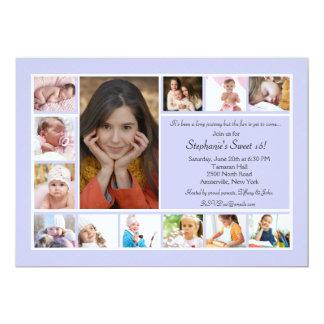 13 Foto-Collagen-vertikale blaue Foto-Einladung 12,7 X 17,8 Cm Einladungskarte
