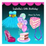 13. Geburtstag kleiden oben Party-aquamarines Rosa Individuelle Ankündigungskarte