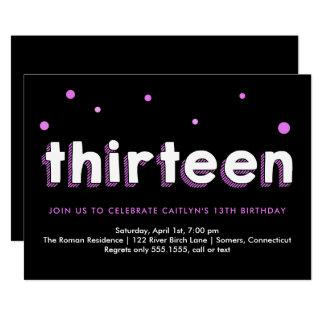 13. Geburtstags-Einladung, skizzierte Buchstaben, Karte