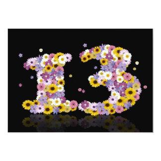 13. Geburtstags-Party, mit geblühten Buchstaben 12,7 X 17,8 Cm Einladungskarte