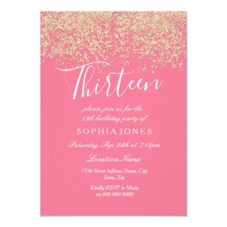 13. Geburtstags Party Rosa GoldGlitzerConfetti Karte