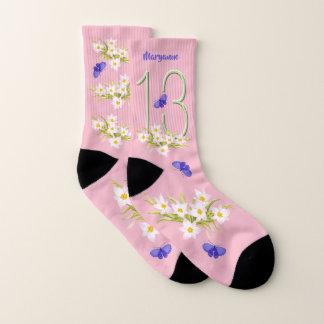 13. Geburtstags-Schmetterlings-Garten-Gewohnheit Socken