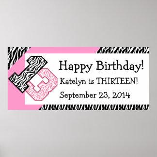 13 GeburtstagZebra mit rosa individuellem Namen Posterdruck