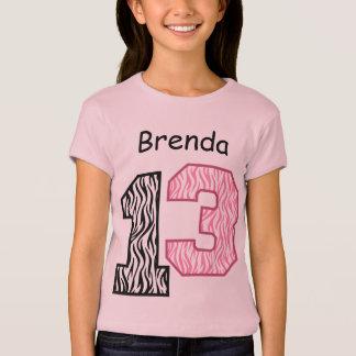 13. Geburtstagzebra-Polka-Punkt-individueller Name T-Shirt