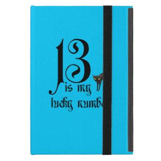 13 ist meine Glückszahl+schwarze Katze/Aqua iPad Mini Etui