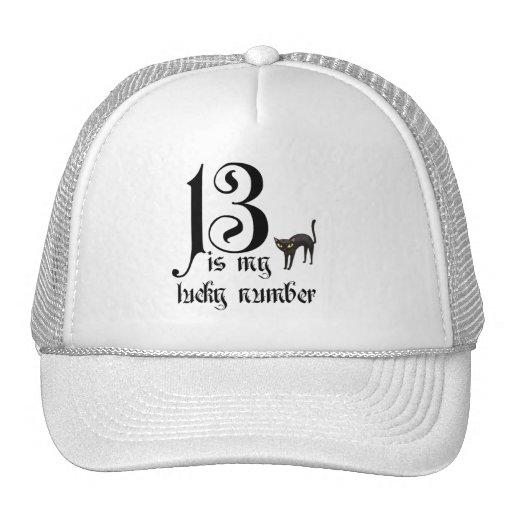 13 ist meine Glückszahl+schwarze Katze Tuckercaps