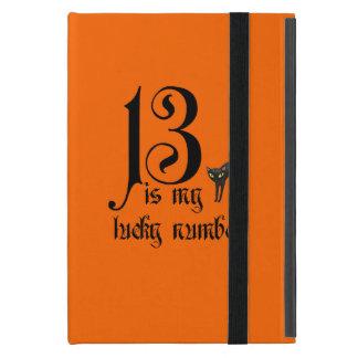 13 ist meine Glückszahl+schwarze Katze/Orange iPad Mini Schutzhüllen
