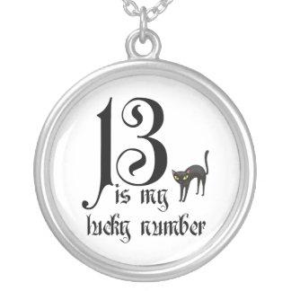 13 ist meine Glückszahl+schwarze Katze Versilberte Kette