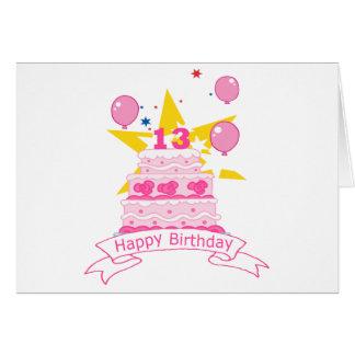 13 Jährig-Geburtstags-Kuchen Karte