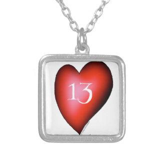 13 von Herzen Versilberte Kette