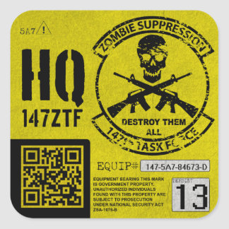 147th Zombie-Task Force hat Einheit Identifikation Quadrat-Aufkleber