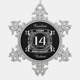 14. Hochzeit ELFENBEIN-Jahrestag Schneeflocken Zinn-Ornament