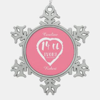 14. Traditionelles Elfenbein des Hochzeitstags Schneeflocken Zinn-Ornament