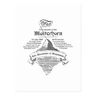 150. Jahr-Jubiläum Matterhorns GRAU-WEISS Postkarte