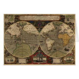 1595 Vintage Weltkarte durch Jodocus Hondius Karte