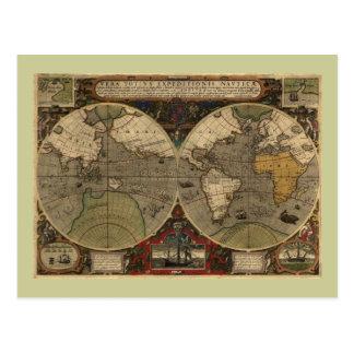 1595 Vintage Weltkarte durch Jodocus Hondius Postkarte