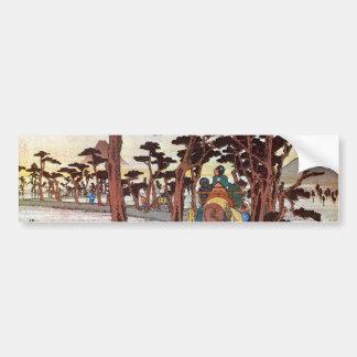 15. 吉原宿, 広重 Yoshiwara-juku, Hiroshige, Ukiyo-e Autoaufkleber