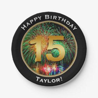 15. Geburtstag der Feuerwerks-fünfzehnte mit Namen Pappteller