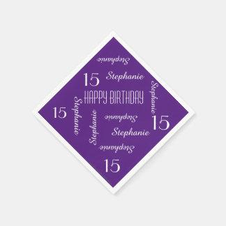15. Geburtstags-Party, das Namen-lila Servietten