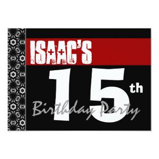 15. Geburtstags-Party-modernes rotes Schwarzweiss 12,7 X 17,8 Cm Einladungskarte