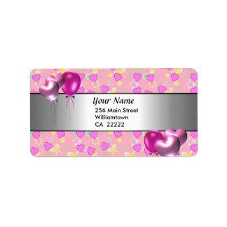 15. Geburtstags-Party-Rosa-Herz-Adressen-Etikett Adressaufkleber