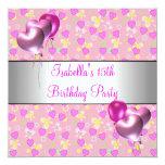 15. Geburtstags-Party-Rosa-Herz-silberne Ballone Quadratische 13,3 Cm Einladungskarte