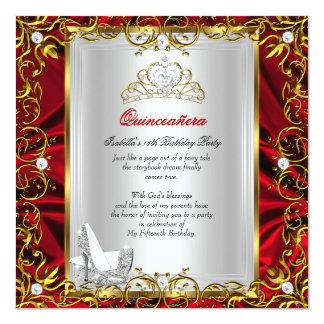 15. Geburtstags-rotes königliches Quadratische 13,3 Cm Einladungskarte