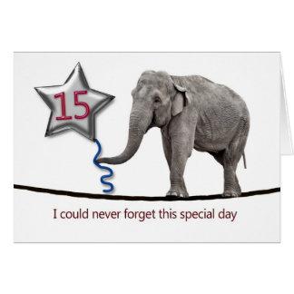 15. Geburtstagskarte mit gehendem Elefanten des Karte