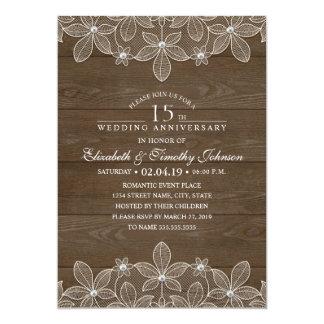 15. Hochzeitstag-rustikale hölzerne Land-Spitze Karte