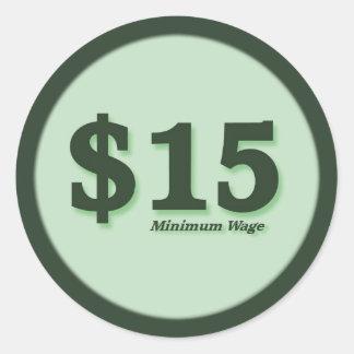 $15 Mindestlohnbargeldaufkleber - dunkle Zahl Runder Aufkleber