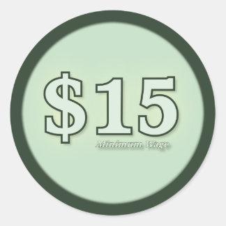 $15 Mindestlohnbargeldaufkleber - helle Zahl Runder Aufkleber