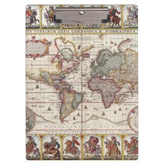 1652 Karte der Welt, Doncker Seeatlas-Weltkarte Klemmbrett