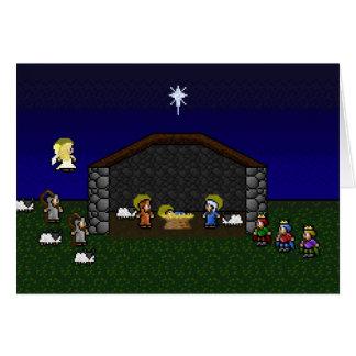 16-Bit-RPG-Geburt Christis-Szene Grußkarte