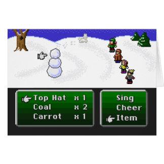 16-Bit-RPG-Schneemann Grußkarte
