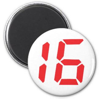 16 digitale Zahl des Weckers mit sechzehn Rottönen Magnete