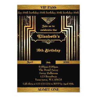 16., Geburtstag 16., Gatsby Art, Karte, schwarzes Karte
