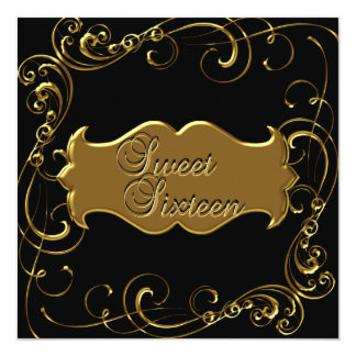 16. Geburtstag 16 Geburtstags-elegantes schwarzes Karte