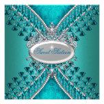 16. Geburtstag 16 Geburtstags-Party-aquamarine Personalisierte Ankündigungskarten