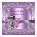 16. Geburtstag 16 Geburtstags-Party-lila rosa Individuelle Einladungskarte
