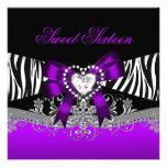 16. Geburtstag 16 Geburtstags-Partyzebra-lila Individuelle Einladungen