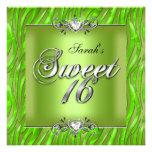 16. Geburtstag 16 Geburtstagzebra-Limones Grün Individuelle Ankündigungskarte