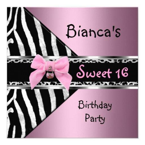 16. Geburtstag 16 rosa silberner schwarzer Personalisierte Ankündigungskarten