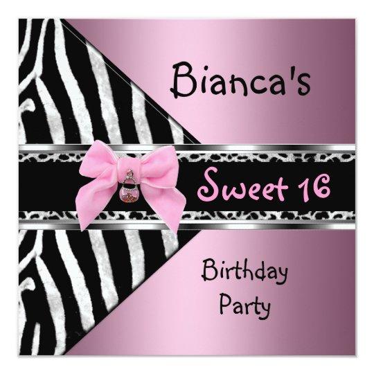 16. Geburtstag 16 rosa silberner schwarzer Karte