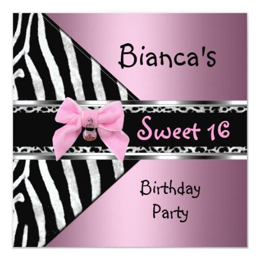 16. Geburtstag 16 rosa silberner schwarzer Quadratische 13,3 Cm Einladungskarte