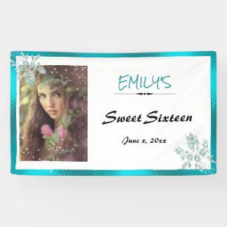 16. Geburtstag, addieren Ihren Glitter, Türkis Banner